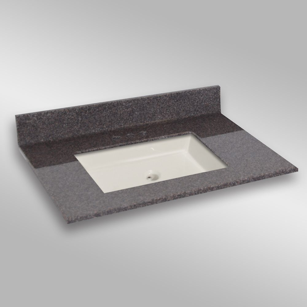 37-Inch W x 22-Inch D Granite Square Centre Basin Vanity Top in Mystique