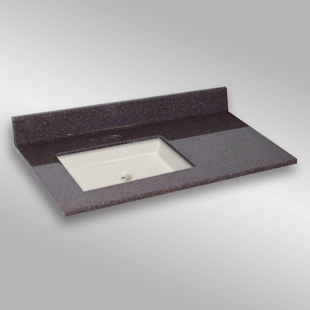 37-Inch W x 22-Inch D Granite Square Left-Hand Basin Vanity Top in Espresso