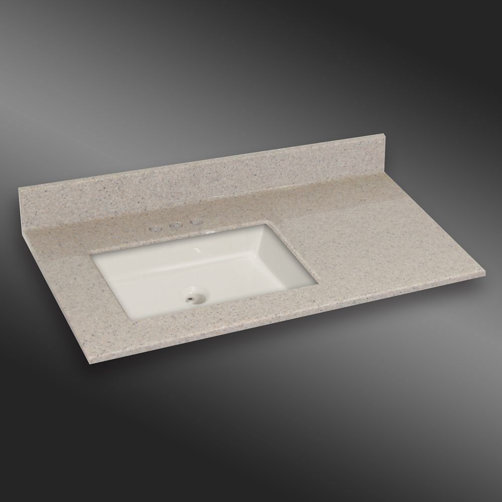 Undermount Square Left Hand Basin, PG141 Irish Cream- 37 x 22 In. 37LH SQUARE PG141 Canada Discount