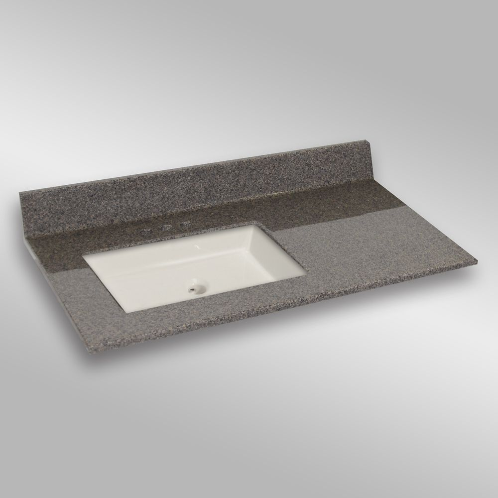 Undermount Square Left Hand Basin, PG144 Carioca Stone- 37 x 22 In. 37LH SQUARE PG144 Canada Discount
