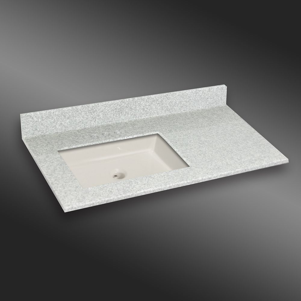 37-Inch W x 22-Inch D Granite Square Left-Hand Basin Vanity Top in Willow Mist