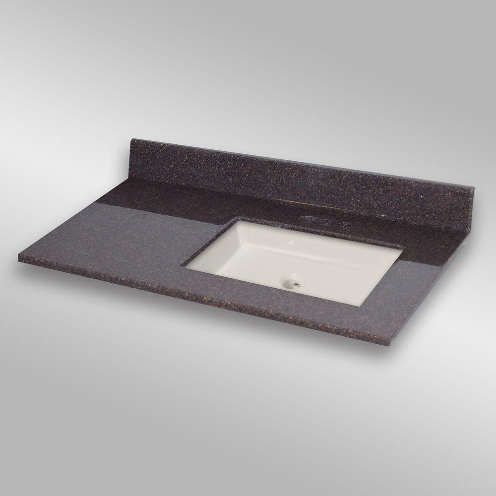 37-Inch W x 22-Inch D Granite Square Right-Hand Basin Vanity Top in Espresso