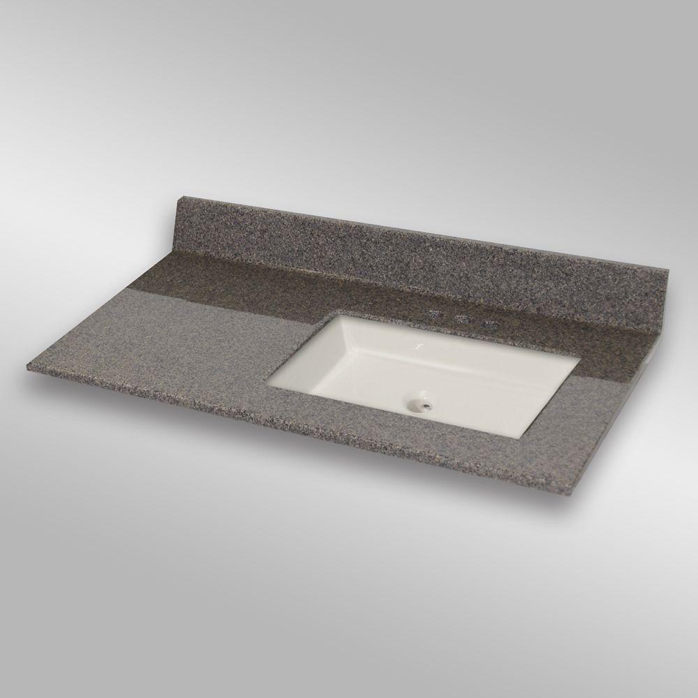 37-Inch W x 22-Inch D Granite Square Right-Hand Basin Vanity Top in Carioca Stone
