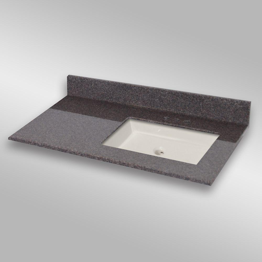 37-Inch W x 22-Inch D Granite Square Right-Hand Basin Vanity Top in Mystique