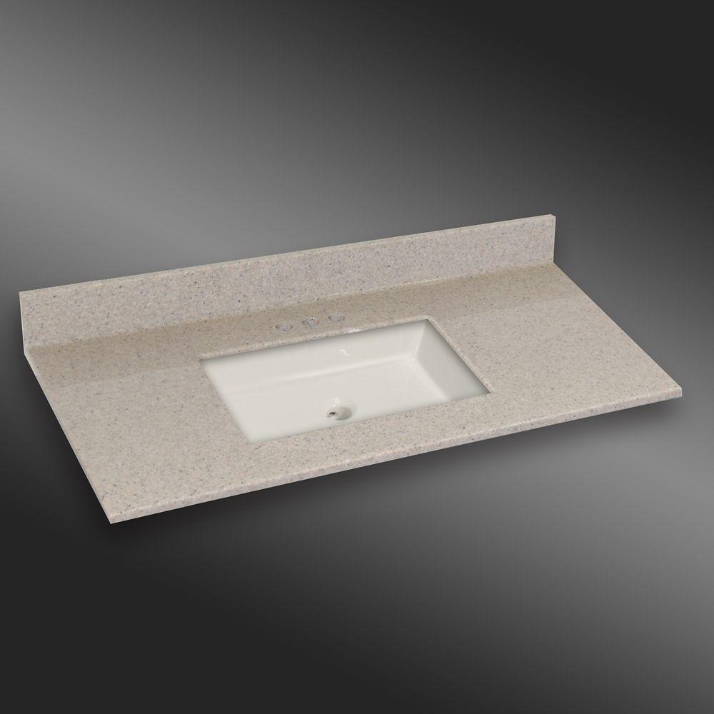 Carré lavabo porcelain monté centré, PG141- Crème Irlandaise- 49 x 22 pouces