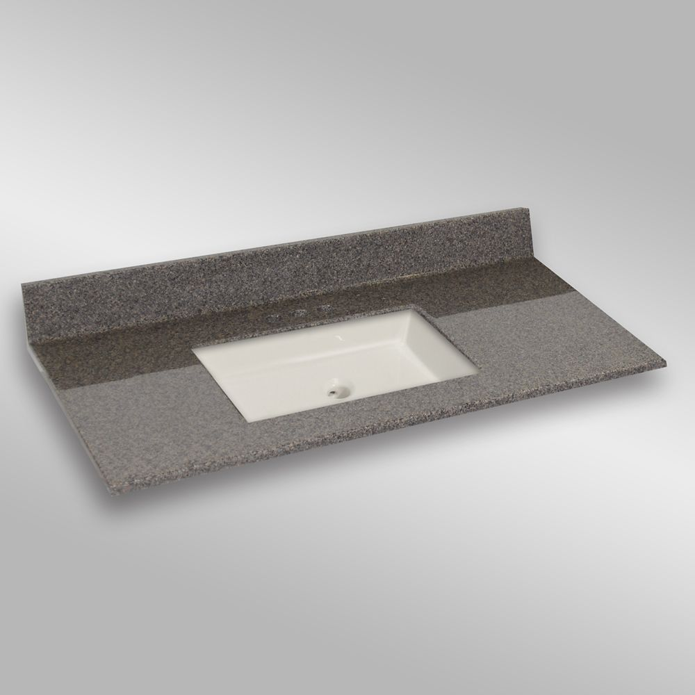 49-Inch W x 22-Inch D Granite Square Centre Basin Vanity Top in Carioca Stone