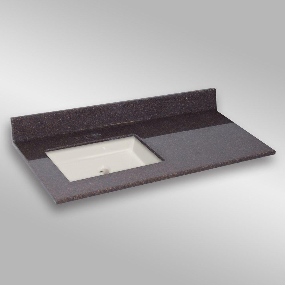 49-Inch W x 22-Inch D Granite Square Left-Hand Basin Vanity Top in Espresso