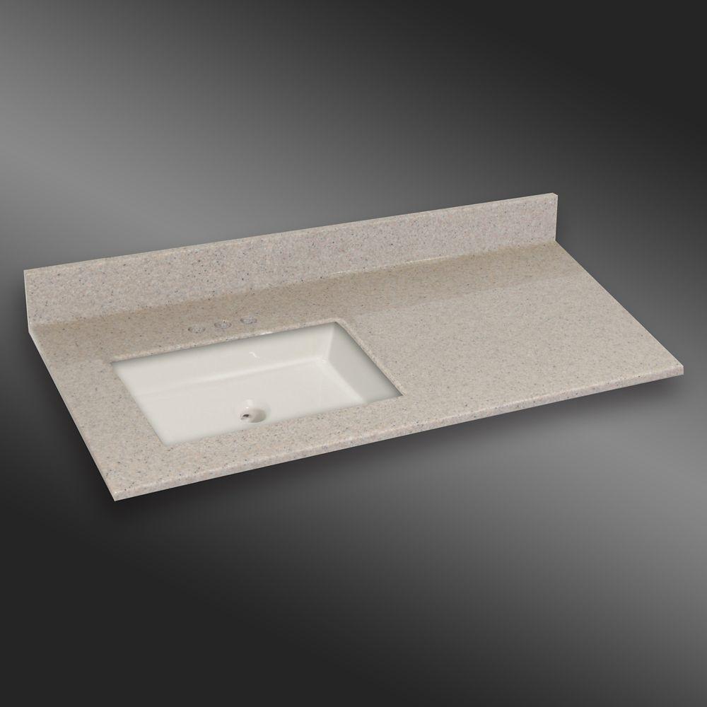 Carré lavabo porcelain monté a la main gauche, PG141- Crème Irlandaise- 49 x 22 pouces