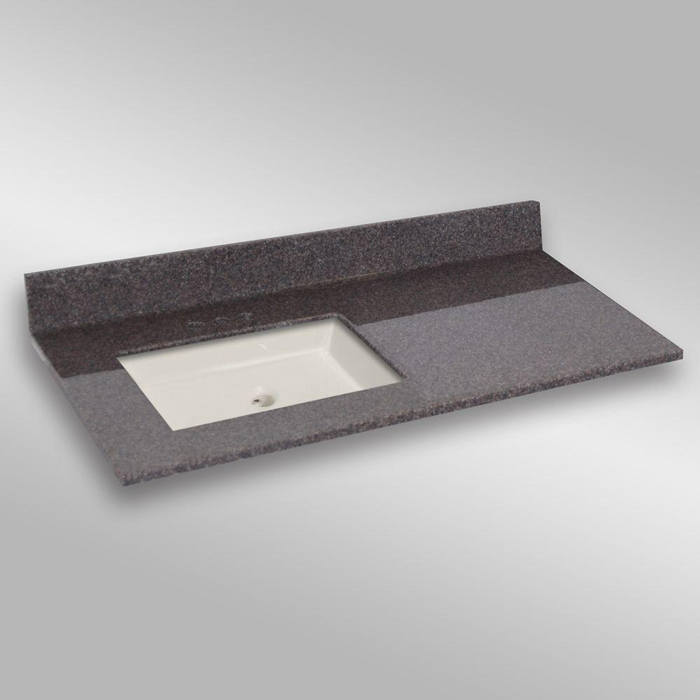 49-Inch W x 22-Inch D Granite Square Left-Hand Basin Vanity Top in Mystique