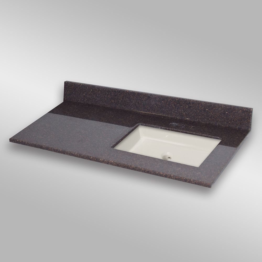 49-Inch W x 22-Inch D Granite Square Right-Hand Basin Vanity Top in Espresso