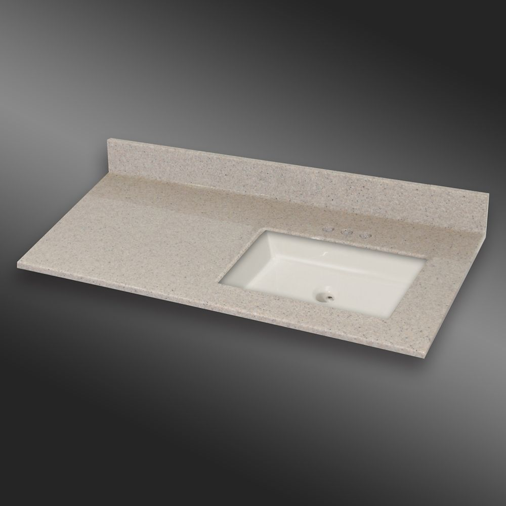 49-Inch W x 22-Inch D Granite Square Right-Hand Basin Vanity Top in Irish Cream