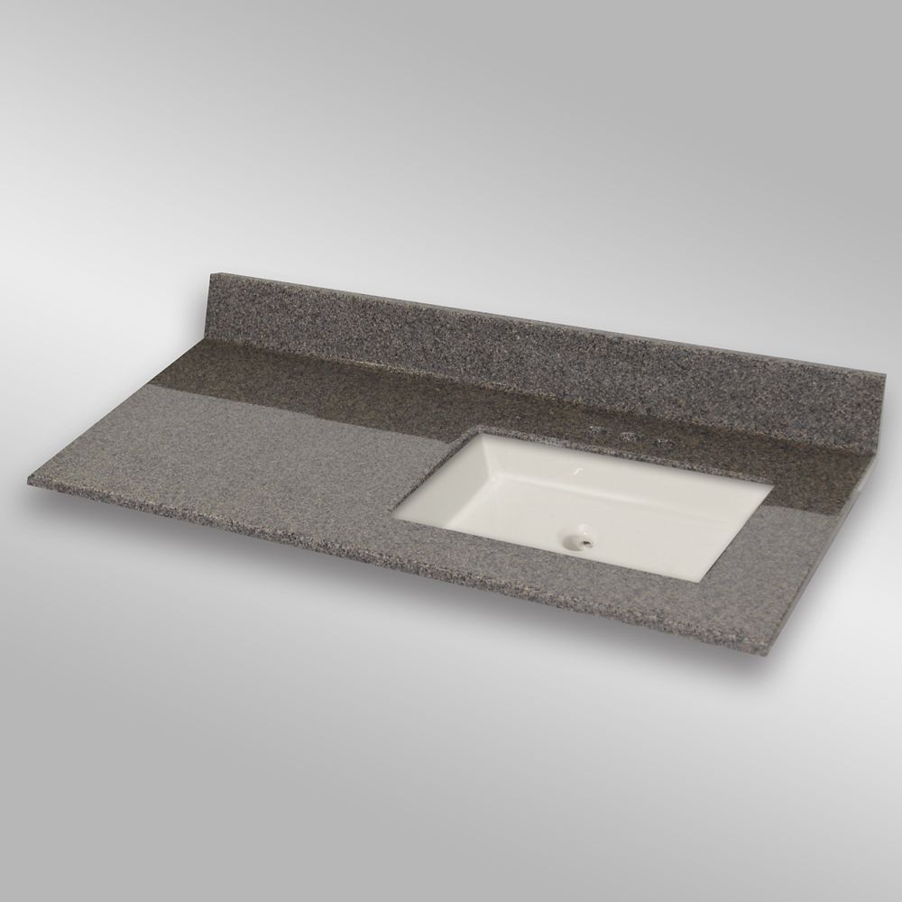 The Marble Factory 49-Inch W x 22-Inch D Granite Square Right-Hand Basin Vanity Top in Carioca Stone