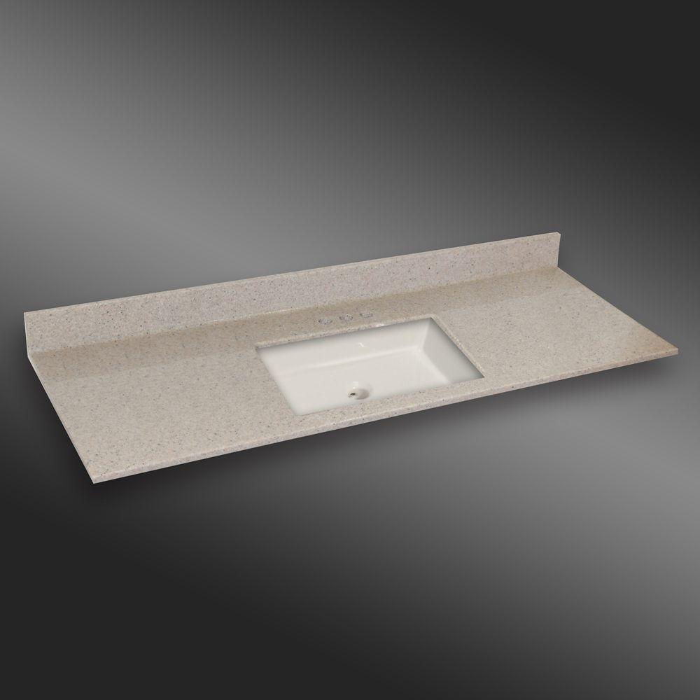 Carré lavabo porcelain monté centré, PG141- Crème Irlandaise- 61 x 22 pouces