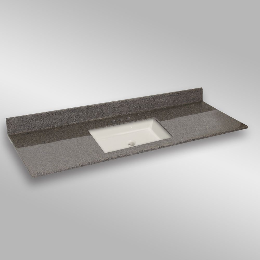 61-Inch W x 22-Inch D Granite Square Centre Basin Vanity Top in Carioca Stone