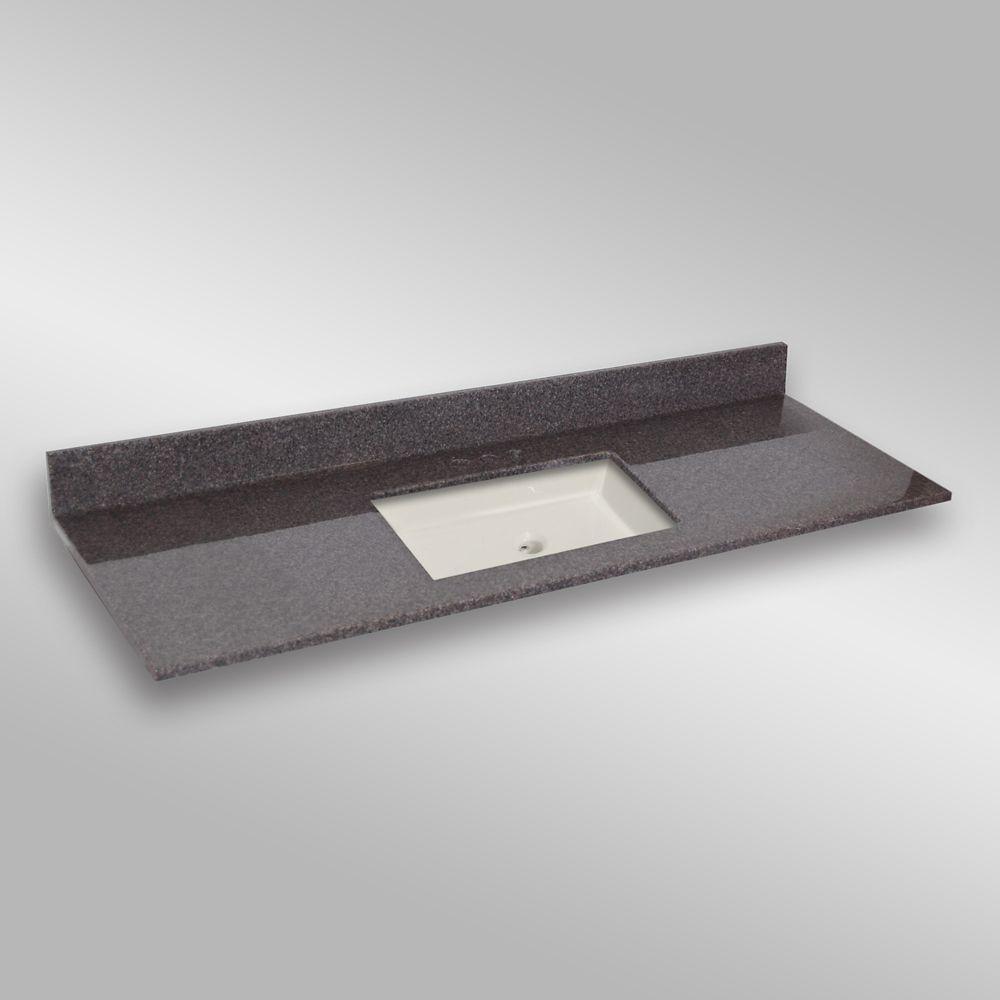 61-Inch W x 22-Inch D Granite Square Centre Basin Vanity Top in Mystique