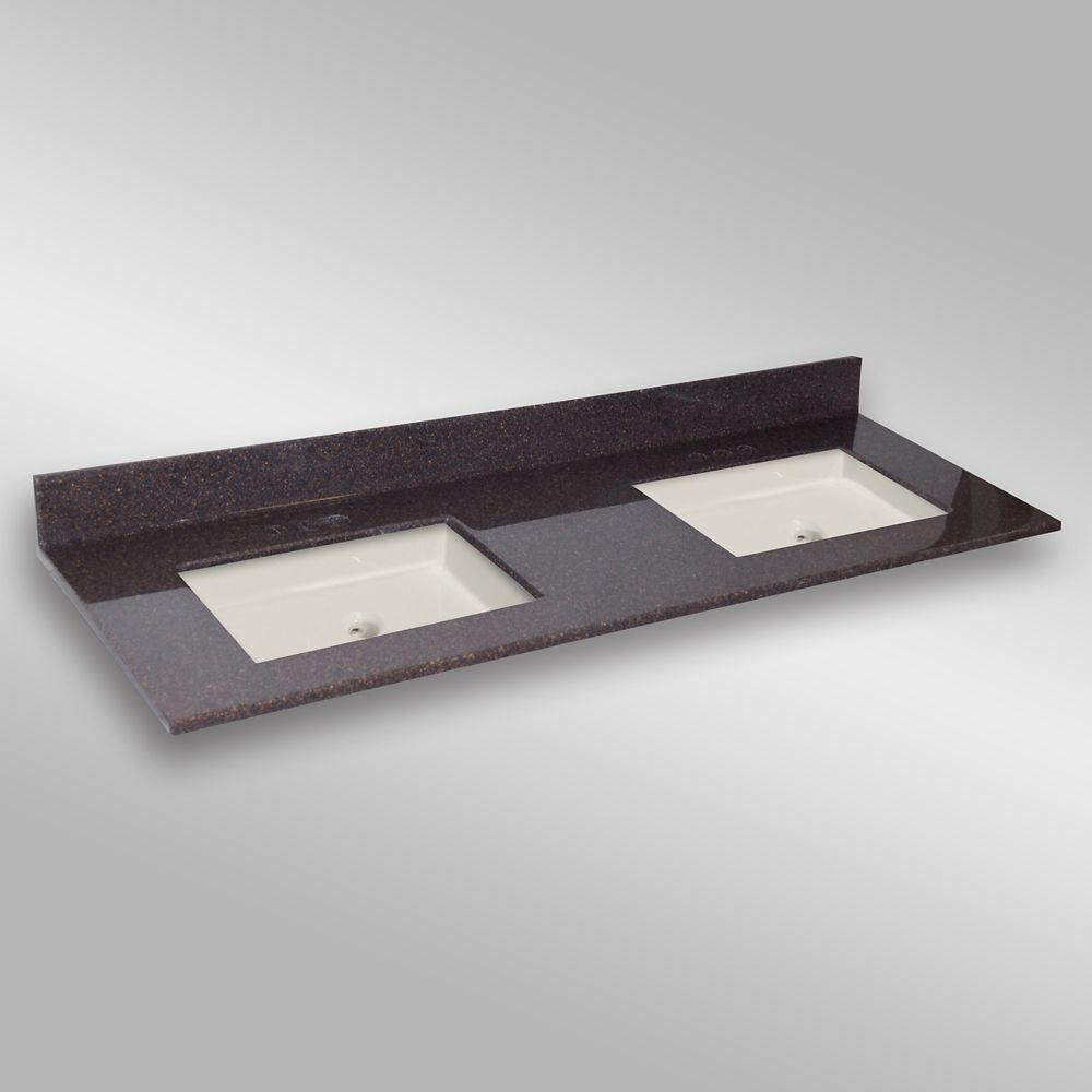 61-Inch W x 22-Inch D Granite Square Double Basin Vanity Top in Espresso