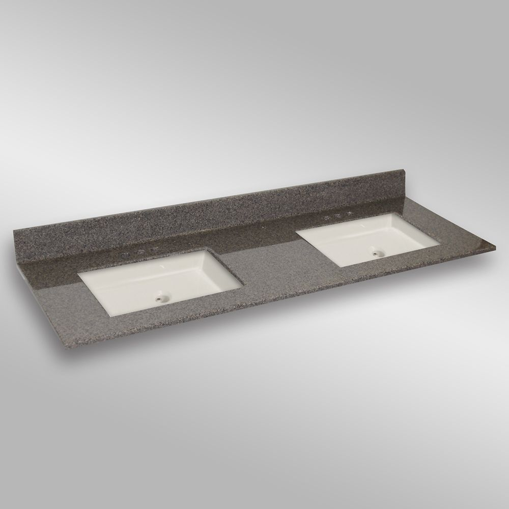 61-Inch W x 22-Inch D Granite Square Double Basin Vanity Top in Carioca Stone