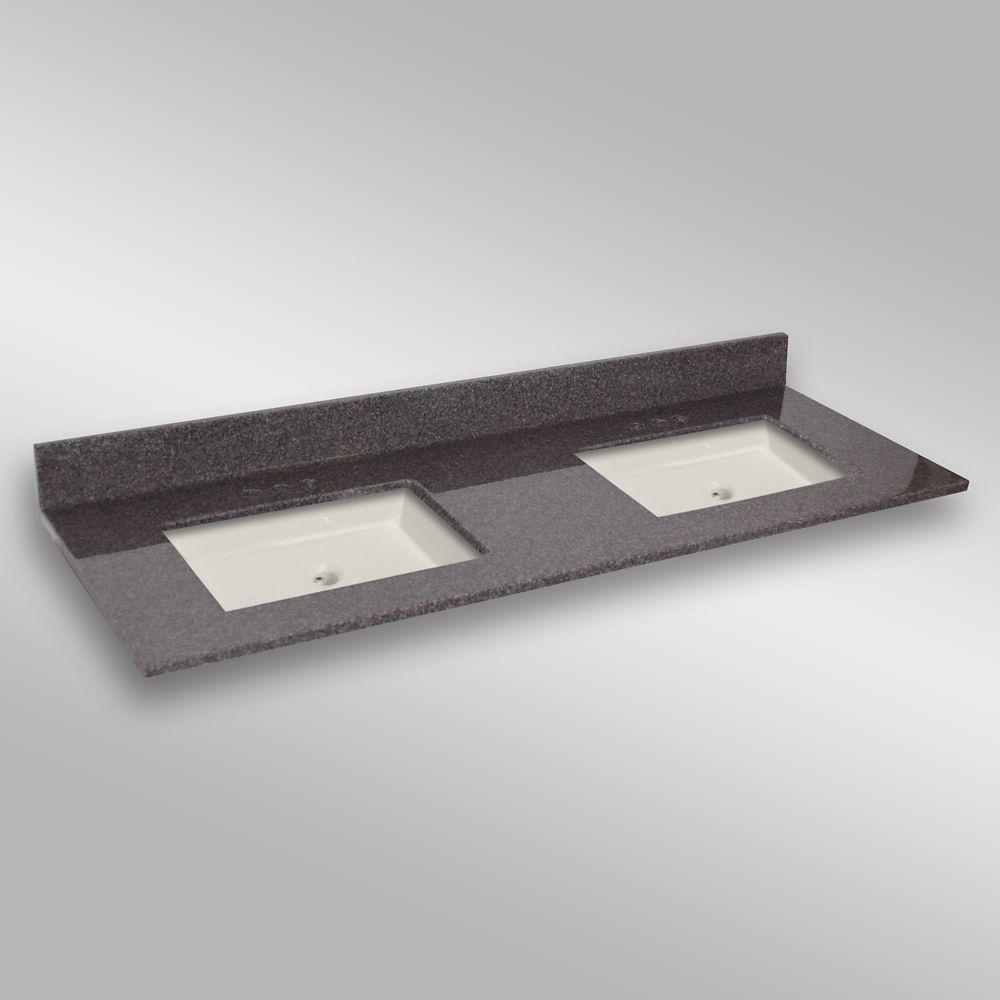61-Inch W x 22-Inch D Granite Double Basin Vanity Top in Mystique