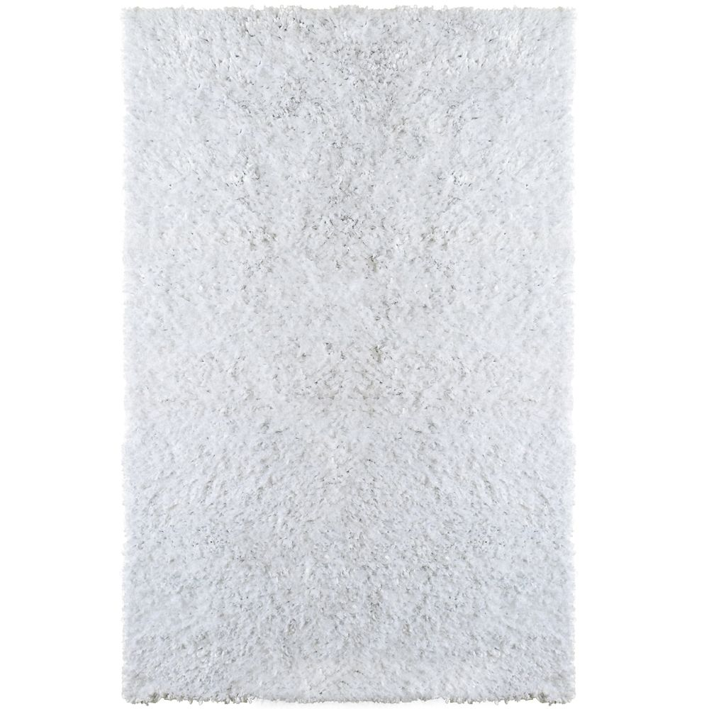 White Tulip Shag Area Rug 5 Feet x 7 Feet 6 Inches