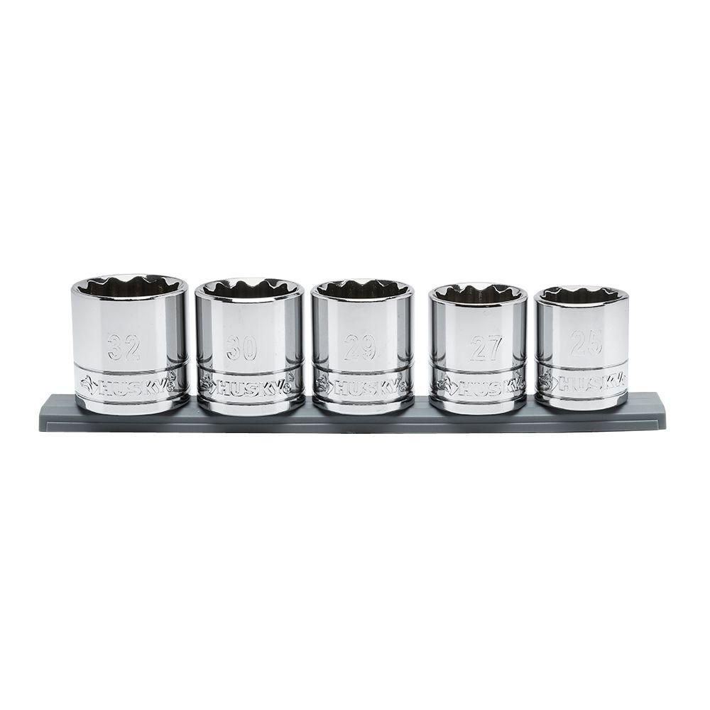 HUSKY 5pc 1/2 Inch Drive Large Metric Socket Set