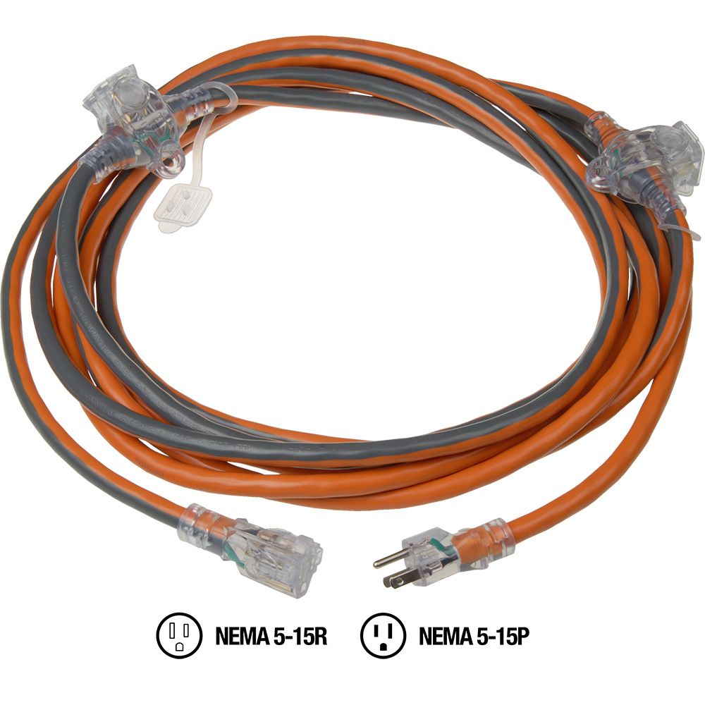 ridgid 25 feet 14 3 inline 3 outlet extension cord the. Black Bedroom Furniture Sets. Home Design Ideas