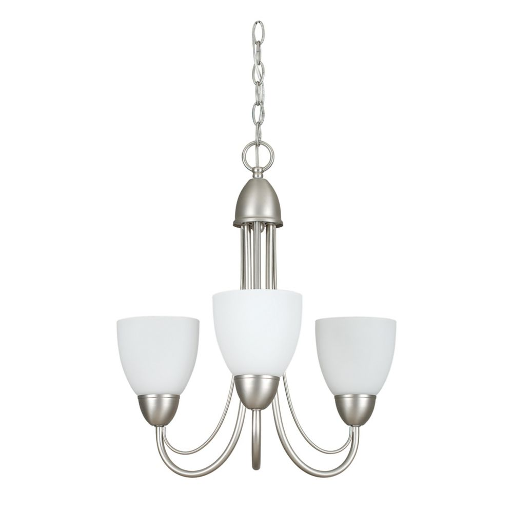 Atropolis 3 Light Ceiling Satin Nickel Compact Fluorescent Chandelier