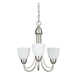 Fillament Design Atropolis 3 Light Ceiling Satin Nickel Compact Fluorescent Chandelier