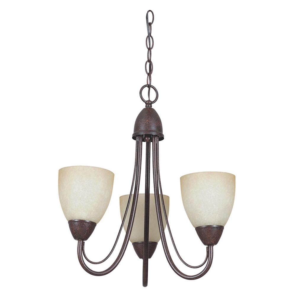 Lustre Atropolis à trois ampoules avec abat-jour de spécialité, Fini bronze