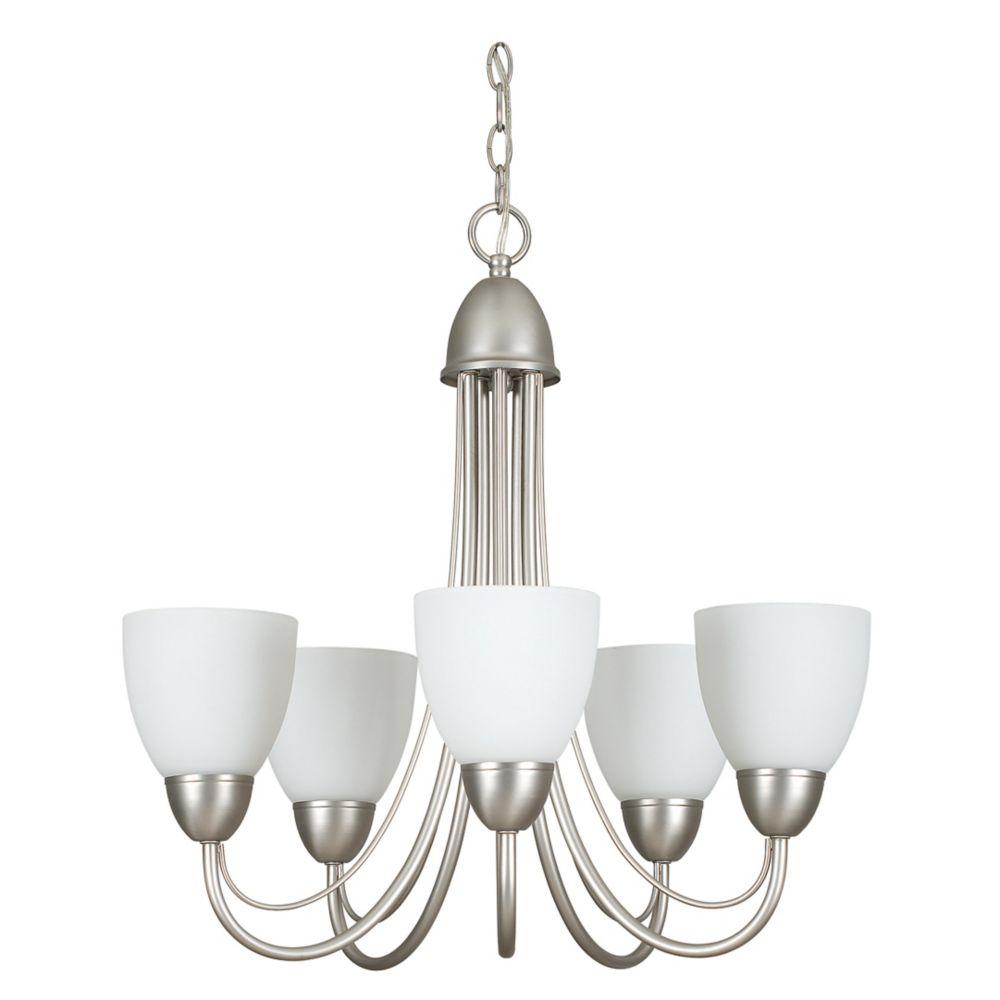 Lustre Atropolis à cinq ampoules avec abat-jour de spécialité, finition de spécialité
