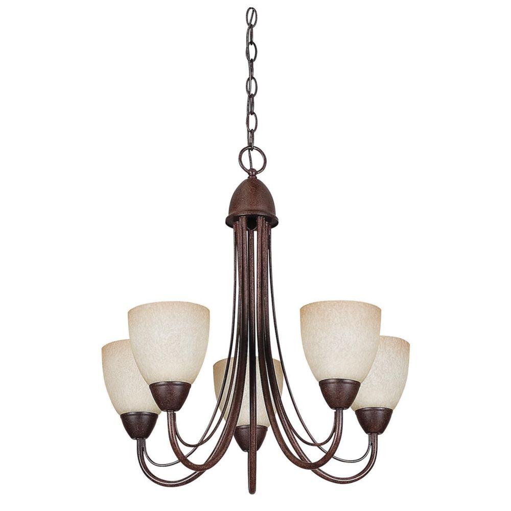 Lustre Atropolis à cinq ampoules avec abat-jour de spécialité, Fini bronze