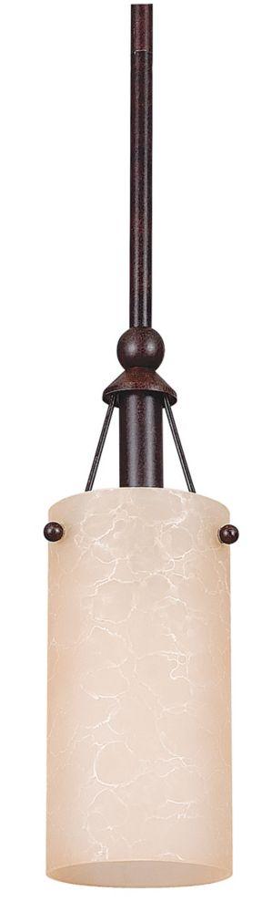 Lustre Atropolis à une ampoule avec abat-jour de spécialité, Fini bronze