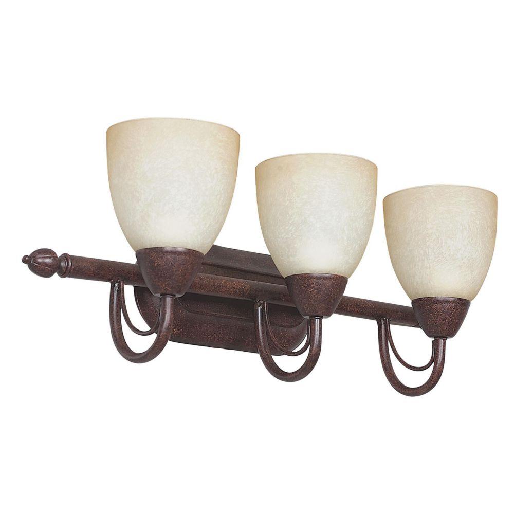Lumière Atropolis fixée au mur à trois ampoules avec abat-jour de spécialité, Fini bronze