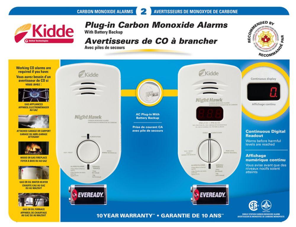 2 Pack Plug-In CO Alarm