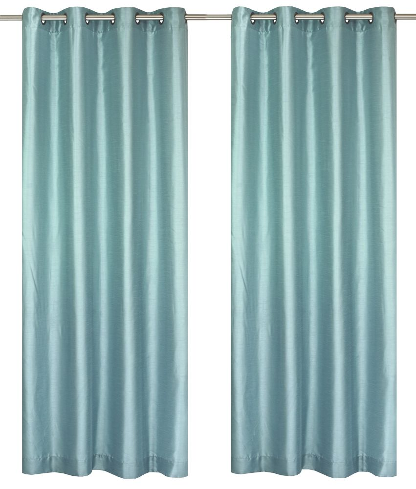 Silkana Faux Silk 56x88-inch Grommet 2-Pack Curtain Set, Aquarium Blue