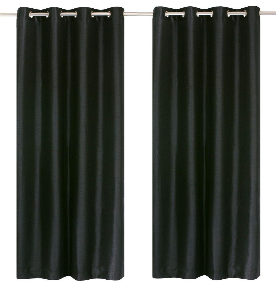 """Silkana paire de panneaux à �illets en fausse soie 56x88"""" Noir"""
