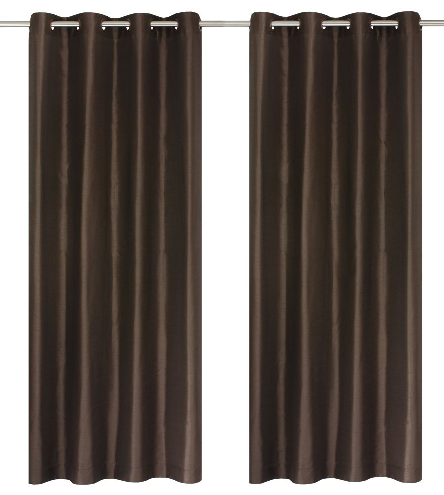 Silkana Faux Silk 56x88-inch Grommet 2-Pack Curtain Set, Brown
