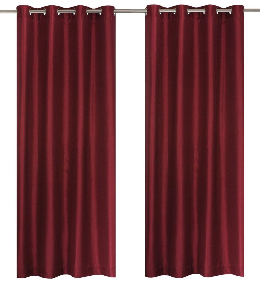 """Silkana paire de panneaux à �illets en fausse soie 56x88"""" Vin rouge"""