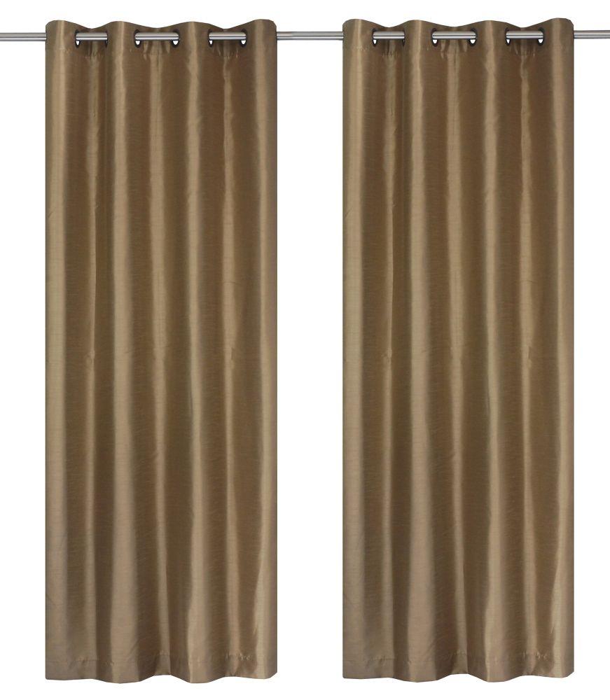Silkana Faux Silk 56x88-inch Grommet 2-Pack Curtain Set, Camel
