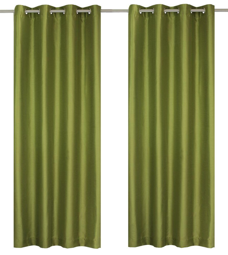 Silkana Faux Silk 56x88-inch Grommet 2-Pack Curtain Set, Olive Green