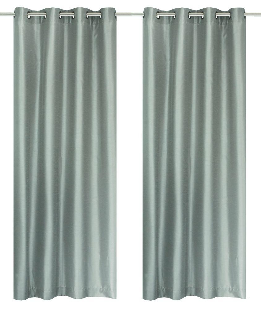 Silkana Faux Silk 56x88-inch Grommet 2-Pack Curtain Set, Silver