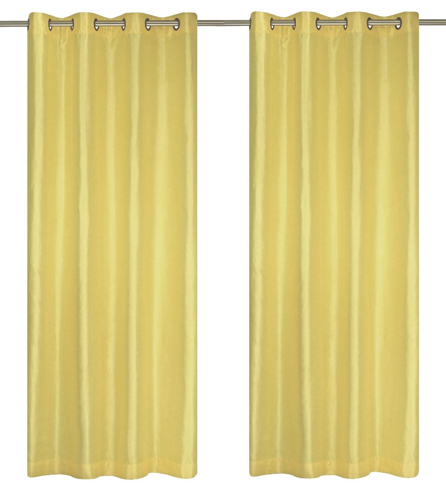 Silkana Faux Silk 56x88-inch Grommet 2-Pack Curtain Set, Yellow