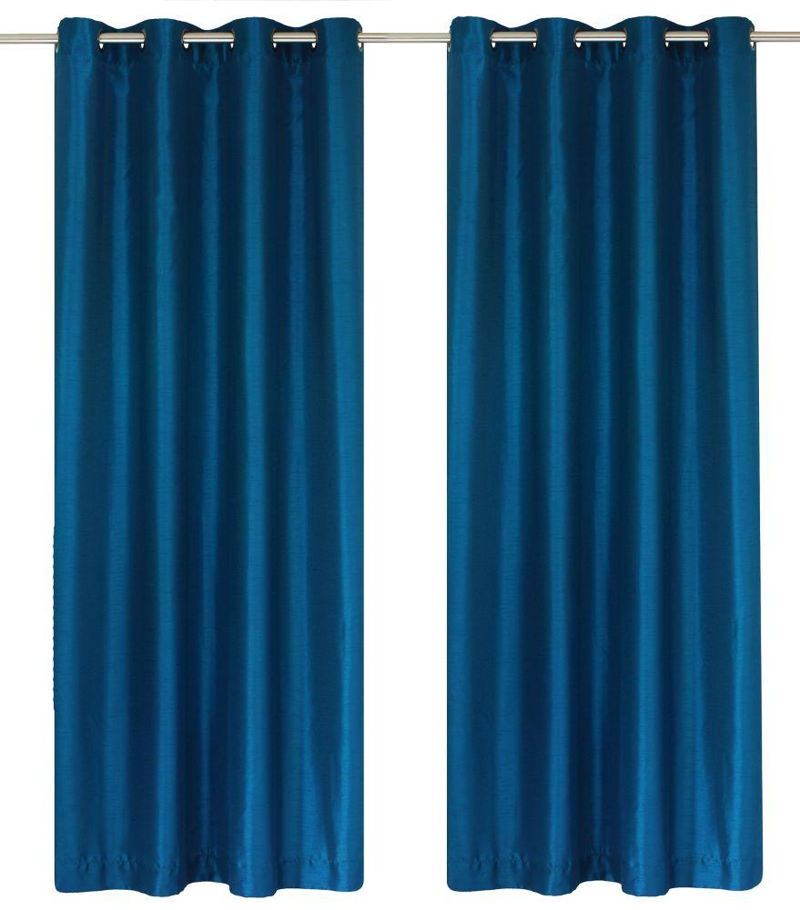 Silkana Faux Silk 56x88-inch Grommet 2-Pack Curtain Set, Cobalt Blue