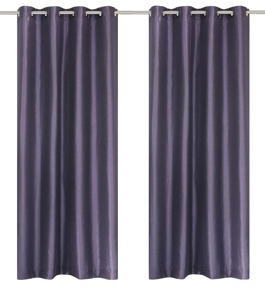 Silkana Faux Silk 56x88-inch Grommet 2-Pack Curtain Set, Purple