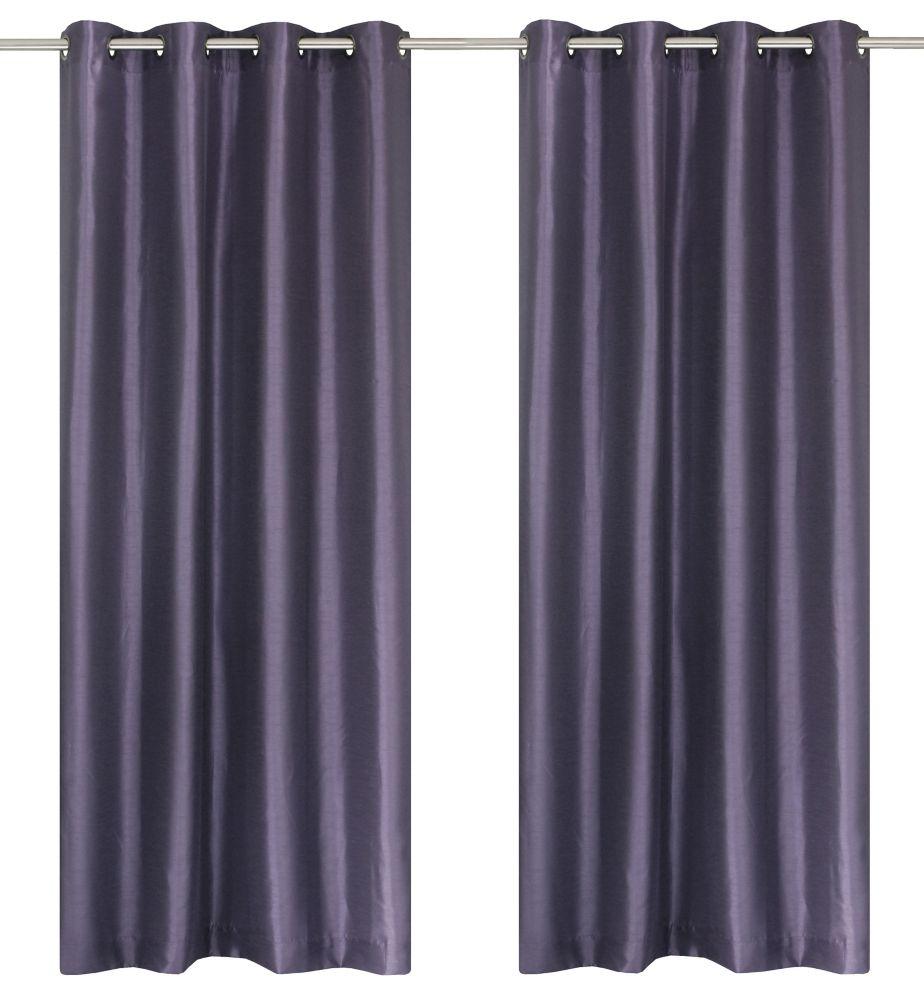 Silkana Faux Silk Grommet Curtain Panels (Set of 2) 56x88-in, Purple