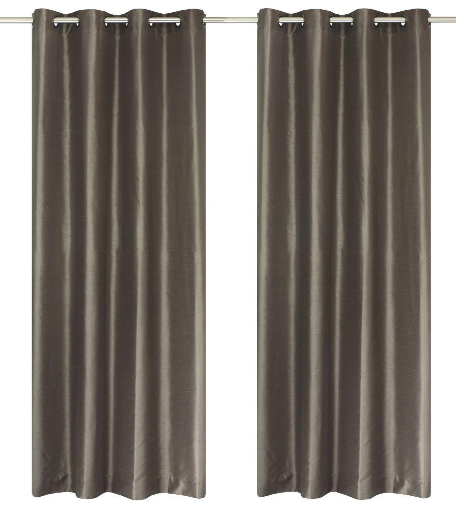 Silkana Faux Silk 56x88-inch Grommet 2-Pack Curtain Set, Light Brown