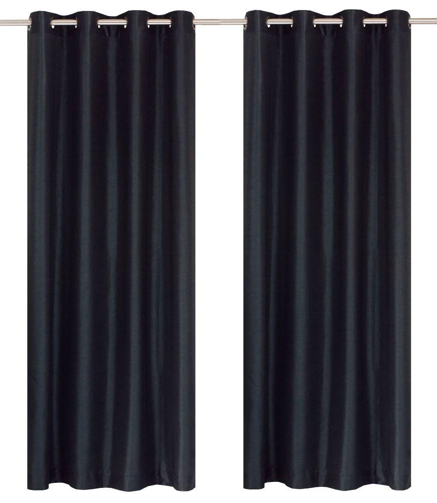 """Silkana paire de panneaux à �illets en fausse soie 56x88"""" Bleu noir"""