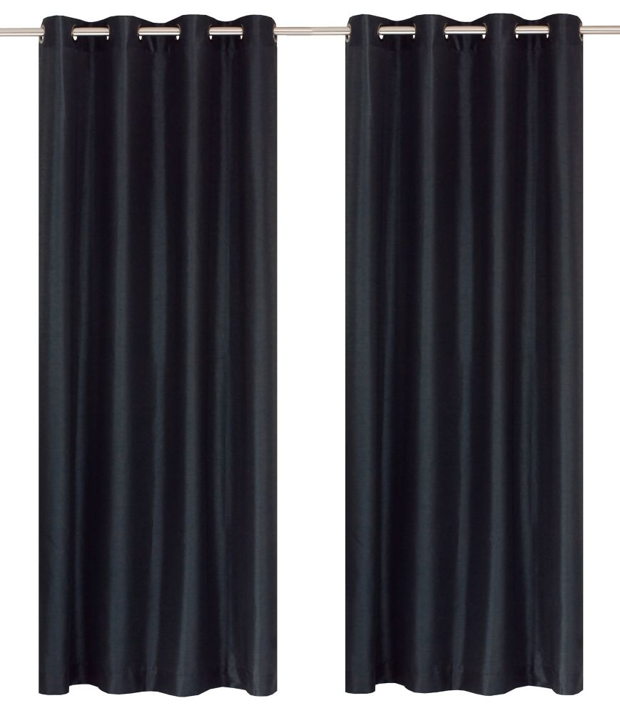 Silkana Faux Silk 56x88-inch Grommet 2-Pack Curtain Set, Blue Black