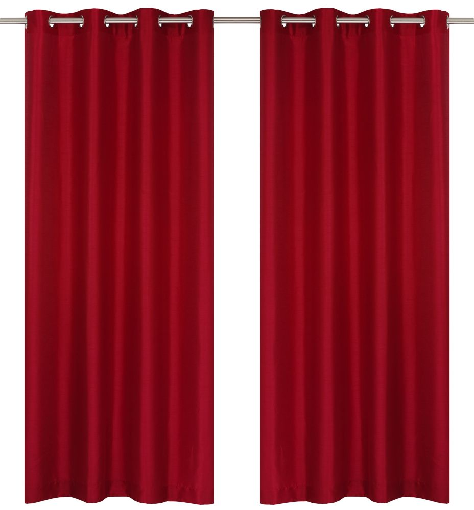 Silkana Faux Silk 56x88-inch Grommet 2-Pack Curtain Set, Red