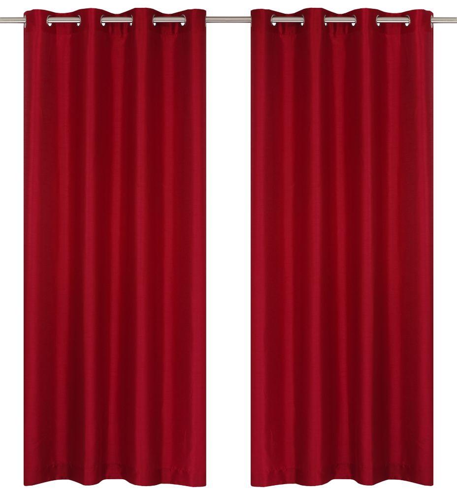 """Silkana paire de panneaux à �illets en fausse soie 56x88"""" Rouge"""