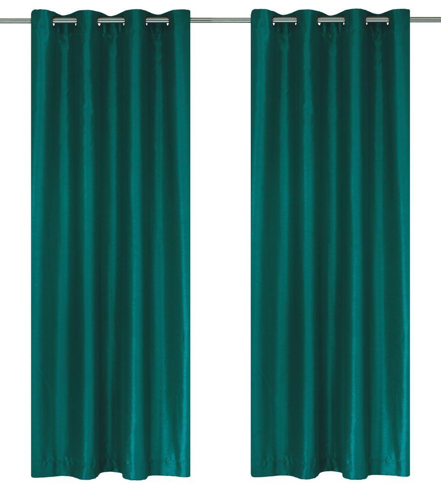 """Silkana paire de panneaux à �illets en fausse soie 56x88"""" Sarcelle"""